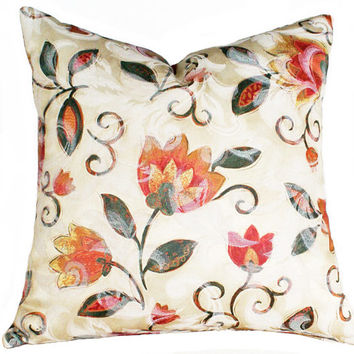 Boho Chic Pillow Covers, Colorful Floral Pillows, Bohemian , Cushions, 12x16, 12x18, Lumbar, Cream Orange Pink, Unique Throw Pillows, SALE