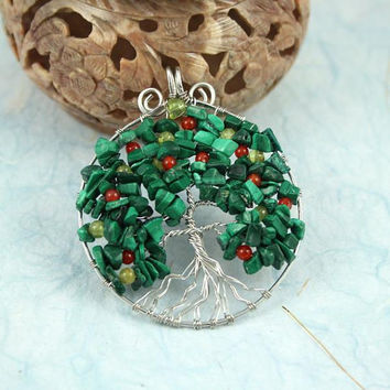 Malachite, red agate and peridot silver-plated wire Tree of Life pendant, apple tree pendant