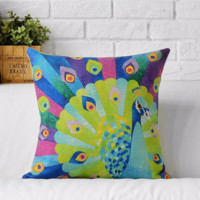 Decorative Watercolor Peacock Pillow