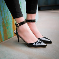 Poined Toe Metal Buckle Ankle Strap Spike Heels Women Pumps 8959