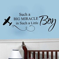 Wall Decals Quote Such A Big Miracle Plane Decal Vinyl Sticker Boy Nursery Baby Room Home Decor Art Murals Ms702