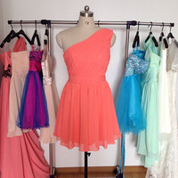 Short Coral Bridesmaid Dress,Cheap Chiffon Bridesmaid Dresses,One Shoulder Wedding Party Dress