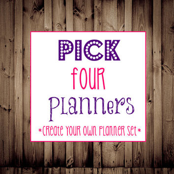 Editable-Pick FOUR Planners-Printable Planner, Budget Printable, Fitness, Menu Planner, Blog, Home Business, Cleaning, Daily Planner