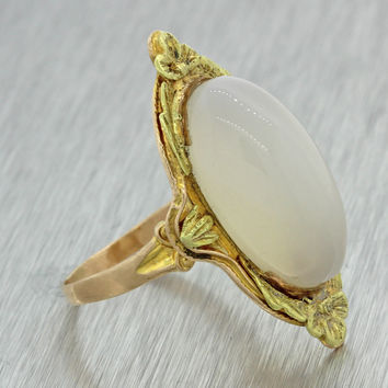 1880s Antique Victorian Estate 14k Solid Yellow Gold Cabochon Moonstone Ring