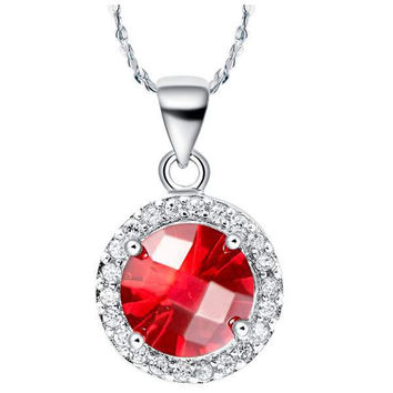 925 Silver Accessories Gemstone Crystal Necklace = 5839609153