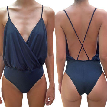 Dark Blue V-neck Ruched Halter Backless Swimsuit