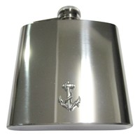 Silver Toned Textured Nautical Anchor 6oz Flask