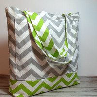 Green Beach Bag - Green and Gray - Chevron Beach Tote - Bridesmaid Gift - Beach Wedding - Canvas Tote Bag - Large Summer Bag - Vacation Bag