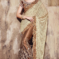 Brown and Muted Green Embroidered Saree with Cut Work Border