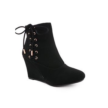 Black Lucia Lace-Up Wedge Bootie