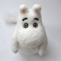 The Moomin troll in the Snowforest - Needle felt sculpture of the lovely character for every initiated kids and adults :-)