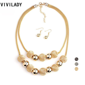 VIVILADY Fashion Handmade Net Beads Metal Layer Chain Jewelry Set Women Bijoux Necklace Earrings Costume Jewelry Party Gifts