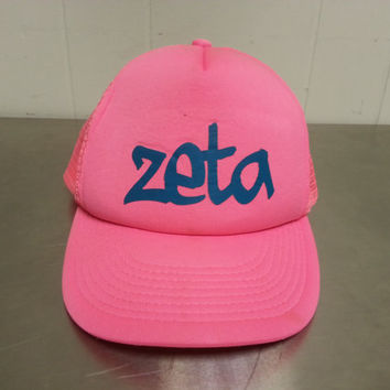Vintage Zeta Pink Mesh Trucker Hat Retro 1980's Sorority Fraternity College Rush Hat Hipster Style