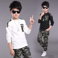 Children Clothing Sets For Boys Camouflage Sports Suits Spring Kids Tracksuits 2017 Teenage Boys Sportswear 4 6 8 9 10 12 Years