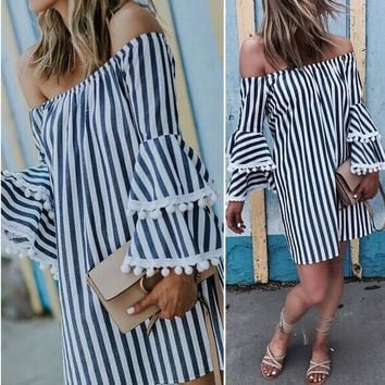 Striped Long Lotus Leaf Sleeves Off Shoulder Short Dress