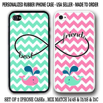 MINT MIX PINK CHEVRON CUTE WHALE BFF BEST FRIENDS CASES For iPhone 6S 6 SE 5S 5C