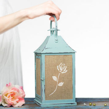 Vintage style Turquoise Wedding Candle Lantern Centerpiece, Shabby Chic Outdoor Lantern, Bohemian Decor/ Limited Addition