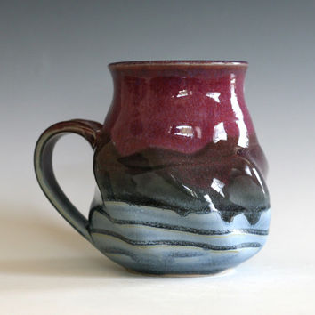 Twisted Coffee Mug, 19 oz, Large Mug,handmade ceramic cup, handthrown mug, stoneware mug, pottery mug unique coffee mug ceramics and pottery