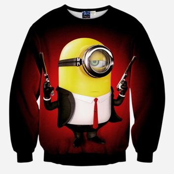 two guns minions  printed sweatshirt 3D printed sweatshirts lover's hoodies free shipping