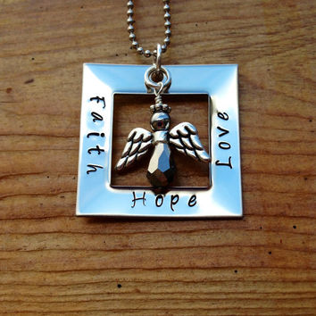 Faith Hope Love Stainless Steel Necklace  by KennabelleDesigns