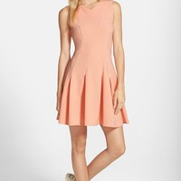 Junior Women's Love, Nickie Lew Pleated Fit & Flare Dress,