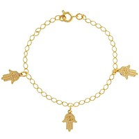 18k Gold Plated Hamsa Hand of Fatima Evil Eye Protection Bracelet 7""