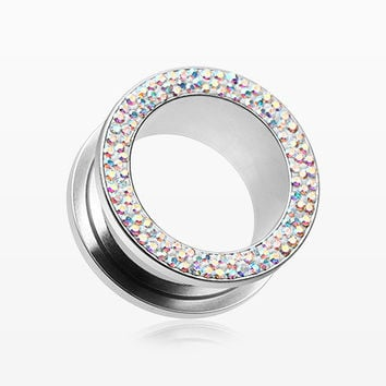 A Pair of Multi-Gem Sparkle Screw-Fit Ear Gauge Tunnel Plug