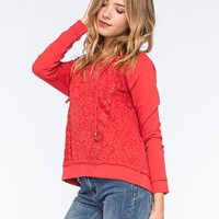 Taylor & Sage Lace Crochet Womens Hoodie Red  In Sizes
