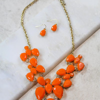 Large Teardrop Necklace and Earring Set in Orange