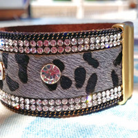 Animal Print Leather Bracelet. Black Animal Print Cuff. Rhinestones and Chain Framed Animal Print Leather Bracelet.