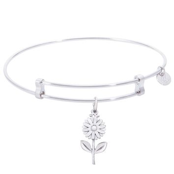 Sterling Silver Confident Bangle Bracelet With Daisy Charm