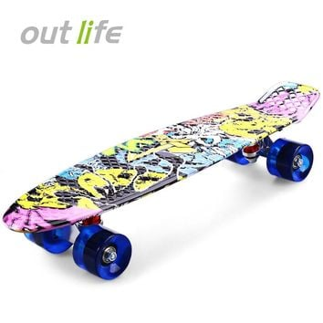 High Quality CL - 85 Printing Street Graffiti Style Skateboard Deck Complete 22 Inch Retro Cruiser Longboard For Child Skate