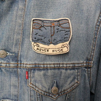 Never Nude Embroidered Patch/Brooch