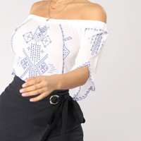 Adrianna Off Shoulder Top - Off White