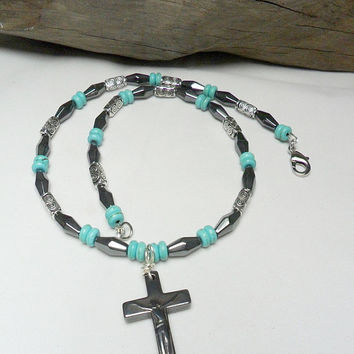 Mens Hematite with Turquoise Cross Pendent Necklace Protection Necklace Religious Jewelry Mans Cross Jewelry Turquoise Stone
