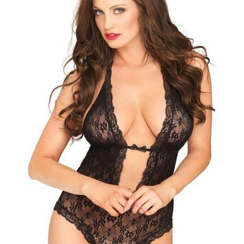 Floral Lace Deep V Halter Teddy With Heart Shaped Cheeky Cut Out G String Back