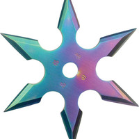 """6-Point Rainbow Stainless Steel Throwing Star with Pouch - 4"""" Diameter"""