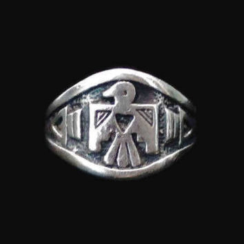 Sterling Silver Native American Eagle, Phoenix Ring,  Size 7 3/4