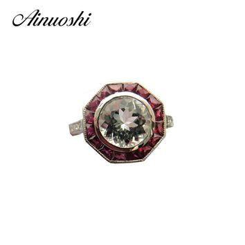 AINUOSHI 14K White Gold Women Engagement Rings Natutal White Aquamarine Natural Ruby Diamond Wedding Anniversary Rings Jewelry