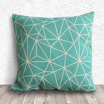 Geometric Pillow Cover, Pillow Cover, Fuschia Pillow Cover, Linen Pillow Cover, 18x18 - Printed Geometric - 008