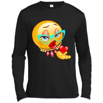 Lady Bling Face Emoji Costume Smiley Funny Emoticon  Long Sleeve Moisture Absorbing Shirt