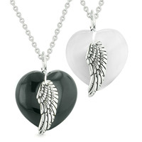 Amulets Angel Wing Hearts Love Couples or Best Friends Black Agate White Simulated Cats Eye Necklaces