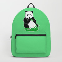 Panda Eating Bamboo Printmaking Art Backpacks by Artist Abigail
