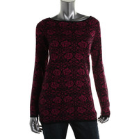 Charter Club Womens Knit Printed Pullover Sweater