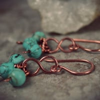 Infinity Magnesite Earrings - Copper Infinity Symbol - Copper Earrings