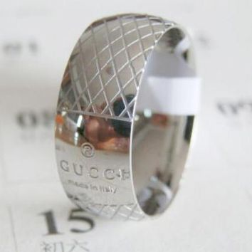 GUCCI Trending Women Men Stylish Simple Titanium Steel Checkered Letter Ring I12554-1