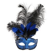 Luxury Sexy Feather Masquerade Party Ball Masks (Blue) (Color: Blue) = 1946375812