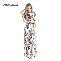 Mamacita 2017 Summer Boho Beach Dresses Fashion Floral Printed Women Long Dress Three Quarter Sleeve Loose Maxi Dress Vestidos