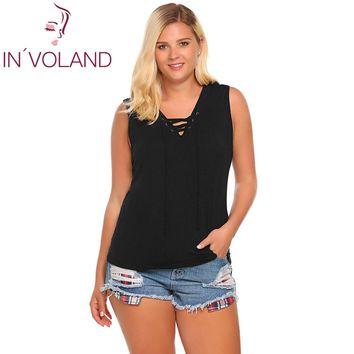 IN'VOLAND Women Tank Tops Oversized Fashion Sleeveless Camisole Solid Loose Front Lace-Up Fitness Female Beach Camis Plus Size