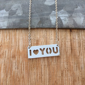 "Valentines Day Silver ""I love you"" Necklace, Simple Dainty Necklace, Minimalist Medallion Necklace, Love Necklace, Love Gift"